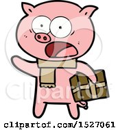 Cartoon Pig With Christmas Present