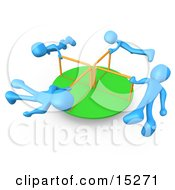 Four Blue People Hanging Onto The Bars Of A Playground Merry Go Round As They Spin In Circles Clipart Illustration Image by 3poD