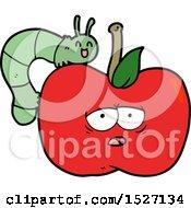 Cartoon Apple And Bug