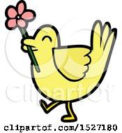 Cartoon Bird With Flower