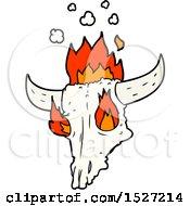 Poster, Art Print Of Spooky Flaming Animals Skull Cartoon