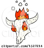 Spooky Flaming Animals Skull Cartoon