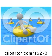Grey People Relaxing And Floating On Yellow Inner Tubes In The Ocean On Summer Vacation Clipart Illustration Image