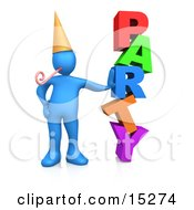 Blue Person In A Gold Party Hat With A Party Blower, Leaning Against The Colorful Word Party