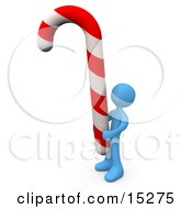 Blue Person Holding A Huge Red And White Striped Peppermint Candy Cane