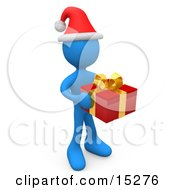 Blue Person In A Santa Hat Carrying A Red And Gold Christmas Present To A Gift Exchange Party Clipart Illustration Image by 3poD