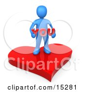 Blue Person Stading On A Red Heart Platform And Holding The Word You by 3poD