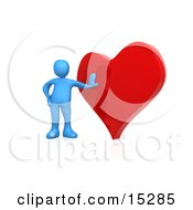Blue Person Leaning Against A Big Red Heart