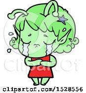 Poster, Art Print Of Cartoon Crying Alien Girl