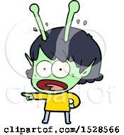 Cartoon Shocked Alien Girl