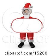 Santa Claus Carrying A Blank White Sign