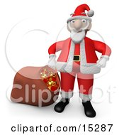 Santa Claus Standing With His Hands On His Hips Pulling A Sack Of Red Christmas Presents With Gold Bows And Ribbons