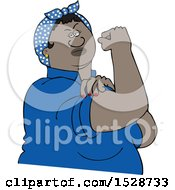 Clipart Of A Cartoon Strong Black Rosie The Riveter Flexing Her Muscles Royalty Free Vector Illustration