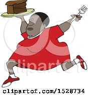 Cartoon Black Woman Running With A Cake