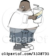 Cartoon Black Boy Holding A Large Fountain Soda