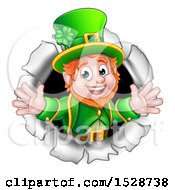 Clipart Of A St Patricks Day Leprechaun Breaking Through A Hole In A Wall Royalty Free Vector Illustration by AtStockIllustration