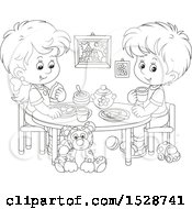 Clipart Of A Lineart Boy And Girl Eating A Meal At A Play Room Table Royalty Free Vector Illustration by Alex Bannykh