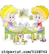 Clipart Of A Blond White Boy And Girl Eating A Meal At A Play Room Table Royalty Free Vector Illustration by Alex Bannykh