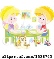 Clipart Of A Blond Boy And Girl Eating A Meal At A Play Room Table Royalty Free Vector Illustration by Alex Bannykh