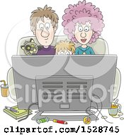 Clipart Of A Boy And His Parents Watching A Movie With Their Cat Royalty Free Vector Illustration