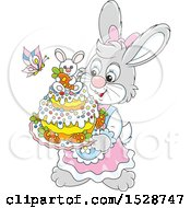 Female Bunny Rabbit Holding An Easter Cake