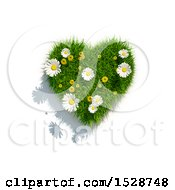 3d Green Grass Dandelion Flower And Daisy Heart On A White Background