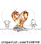 Stick Couple Around A Campfire And A Flaming Heart