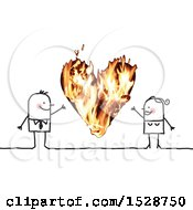 Clipart Of A Stick Couple With A Fiery Heart Royalty Free Vector Illustration
