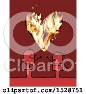 Poster, Art Print Of Stick Couple With A Flaming Heart On Red