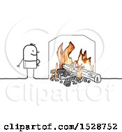 Clipart Of A Stick Man Standing By A Fireplace Royalty Free Vector Illustration