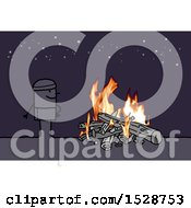 Clipart Of A Stick Man Standing Under The Stars By A Camp Fire Royalty Free Vector Illustration by NL shop