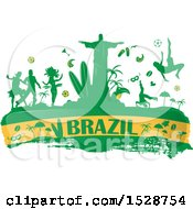Clipart Of A Brazilian Banner With Silhouetted Icons Royalty Free Vector Illustration by Domenico Condello