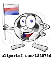 Clipart Of A Soccer Ball Mascot Character Holding A Russian Flag Royalty Free Vector Illustration
