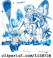 Clipart Of Poseidon Holding A Paddle Over Surfboards With Palm Trees And Grunge Royalty Free Vector Illustration