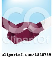 Clipart Of A Knotted United Qatar Ribbon Flag Over Blue Royalty Free Vector Illustration by Domenico Condello