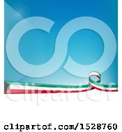 Poster, Art Print Of Kuwait Ribbon Flag Over A Blue And White Background