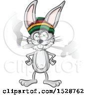 Clipart Of A Jamaican Rasta Bunny Rabbit Smoking A Joint Royalty Free Vector Illustration by Domenico Condello