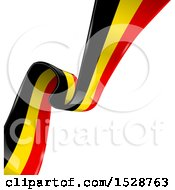 Clipart Of A Diagonal Belgian Ribbon Banner Flag Royalty Free Vector Illustration