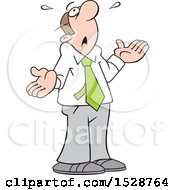 Clipart Of A Cartoon White Business Man Looking Up And Saying What Now Royalty Free Vector Illustration