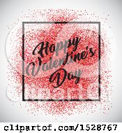 Happy Valentines Day Greeting In A Frame With Red Confetti Over A Shaded Background