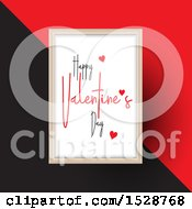 Happy Valentines Day Greeting With Hearts In A Frame Over A Red And Black Background