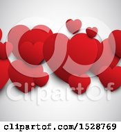 Red Valentine Love Hearts On A Shaded Background