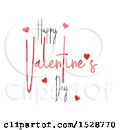 Clipart Of A Happy Valentines Day Greeting With Hearts On A White Background Royalty Free Vector Illustration