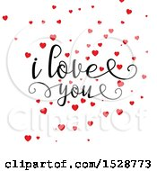 I Love You Text With Red Valentines Day Hearts On A White Background