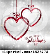Clipart Of A Happy Valentines Day Greeting With Suspended Red Hearts Over A Gray Pattern Royalty Free Vector Illustration