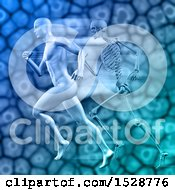 Poster, Art Print Of 3d Sports Medicine Design Of A Man Sprinting Against A Skeleton And Cells