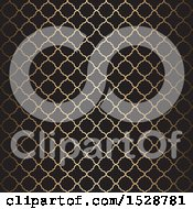 Clipart Of A Golden Arabic Pattern On Black Royalty Free Vector Illustration by KJ Pargeter
