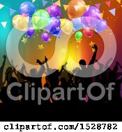Poster, Art Print Of Silhouetted Crowd Of Party People Under Banners Stars And Balloons Over Colors