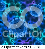 Clipart Of A 3d Blue And Green Virus Background Royalty Free Illustration