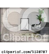 Clipart Of A Half Sketched And Half 3d Living Room Interior With A Blank Frame And Sofas Royalty Free Illustration
